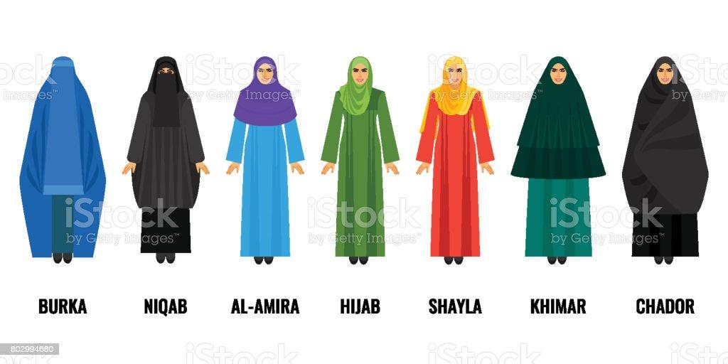 Mujer árabe tradicional ropa conjunto de ilustraciones de dibujos animados aislados - ilustración de arte vectorial