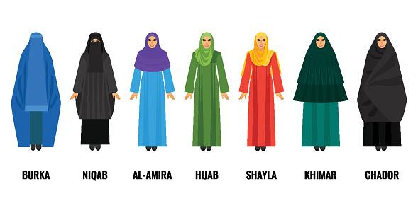 Traditional Arabic Women Clothing Isolated Cartoon Illustrations Set Stock  Illustration—Download Image Now—iStock