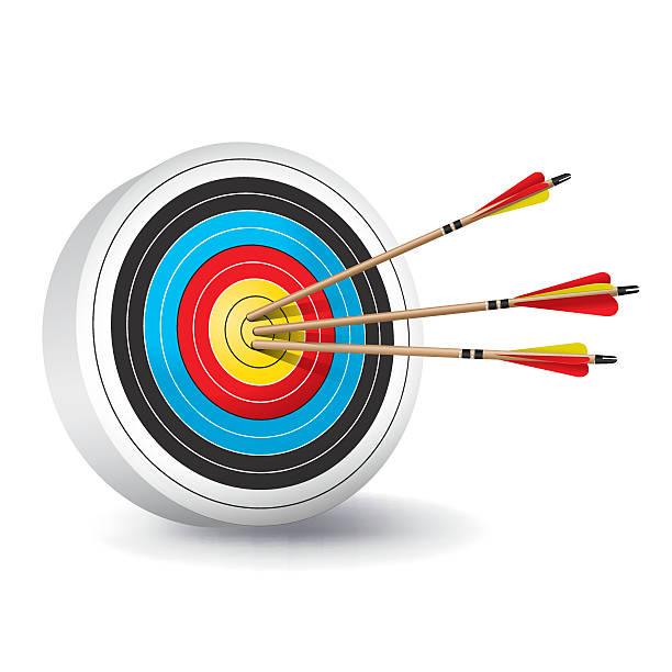 Traditional Archery Target with Arrows Illustration vector art illustration