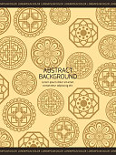 Traditional asian background - korean chinese or japanese backdrop with ornaments details. Pattern frame background in asian style. Vector illustration