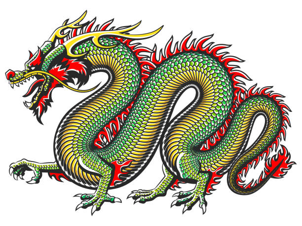 illustrations, cliparts, dessins animés et icônes de dragon asiatique traditionnelle - tatouages dragons