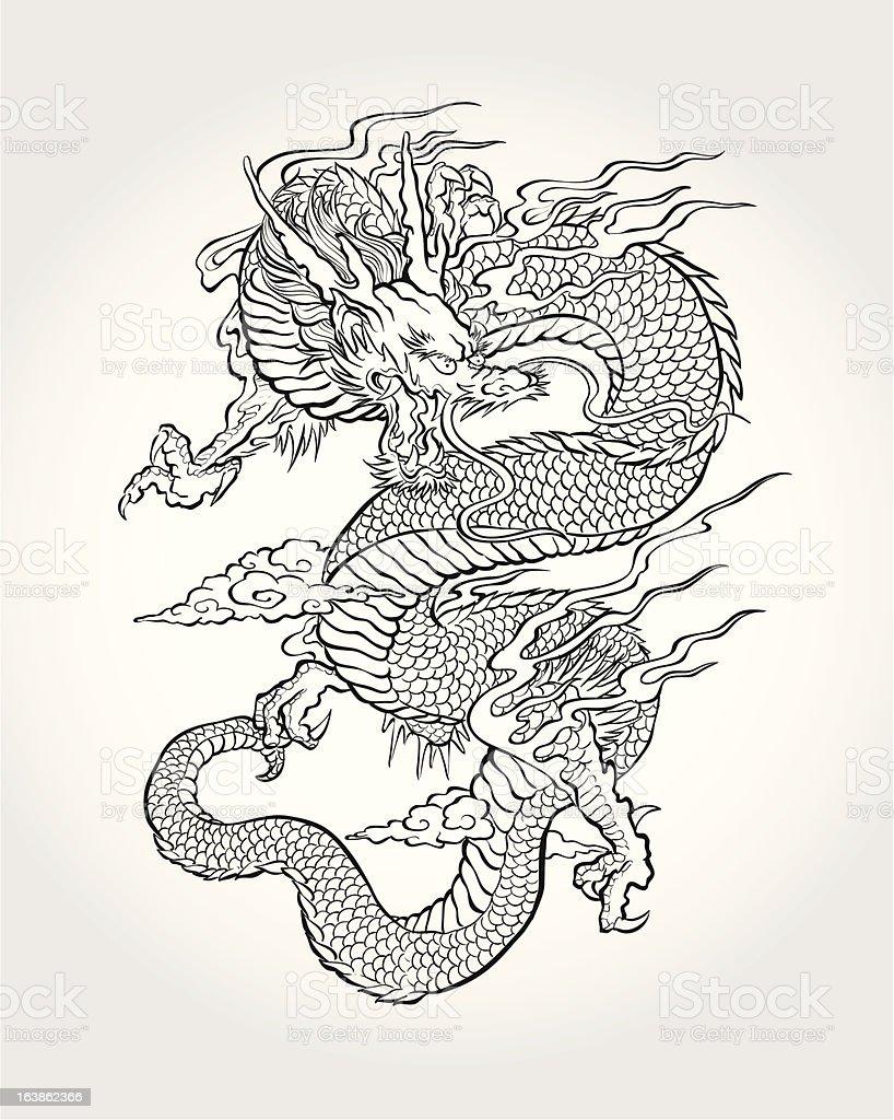 伝統的なアジアのドラゴン ベクターアートイラスト