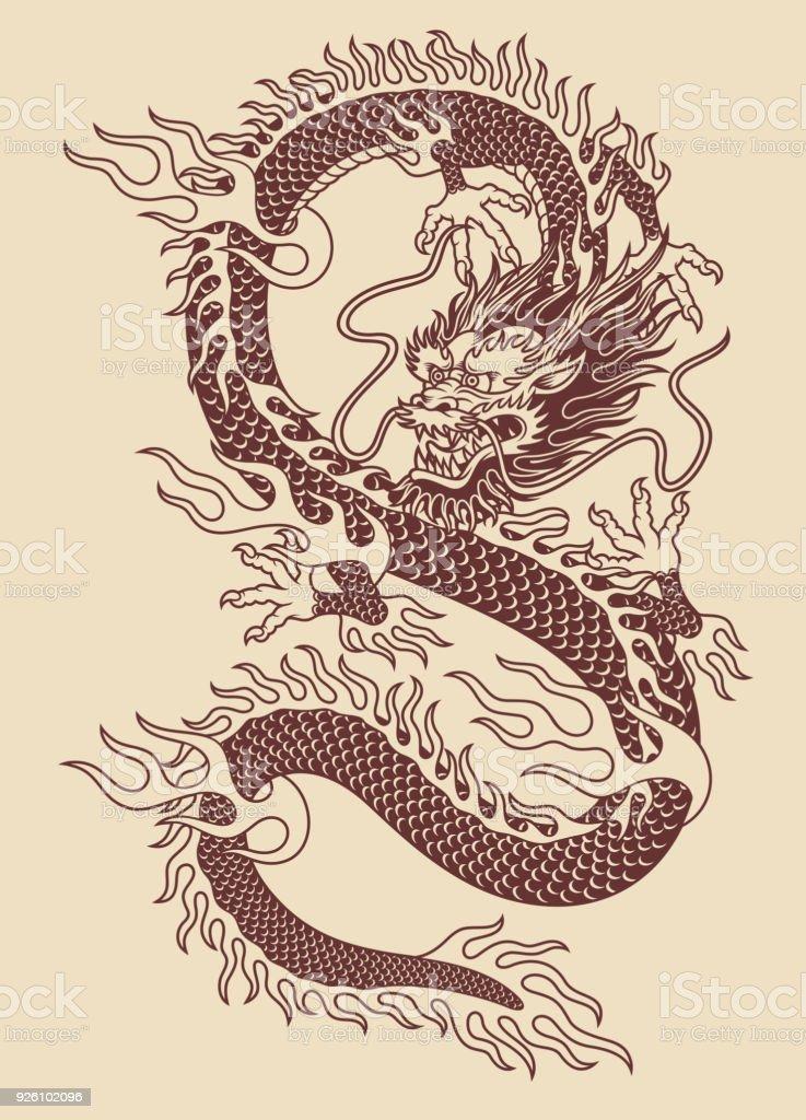 Ilustración del Vector del dragón asiático tradicional - ilustración de arte vectorial