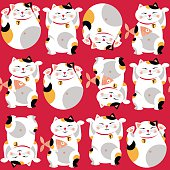 Traditional asian lucky cat. Maneki neko. Seamless background pattern.