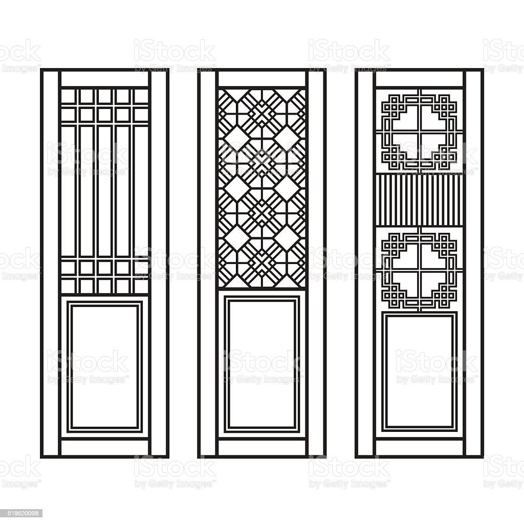 Traditional Asian Window and Door Pattern, vector set vector art illustration