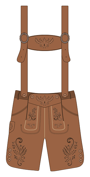 Traditional austrian and bavarian lederhosen (leather pants). Vector hand drawn illustration.
