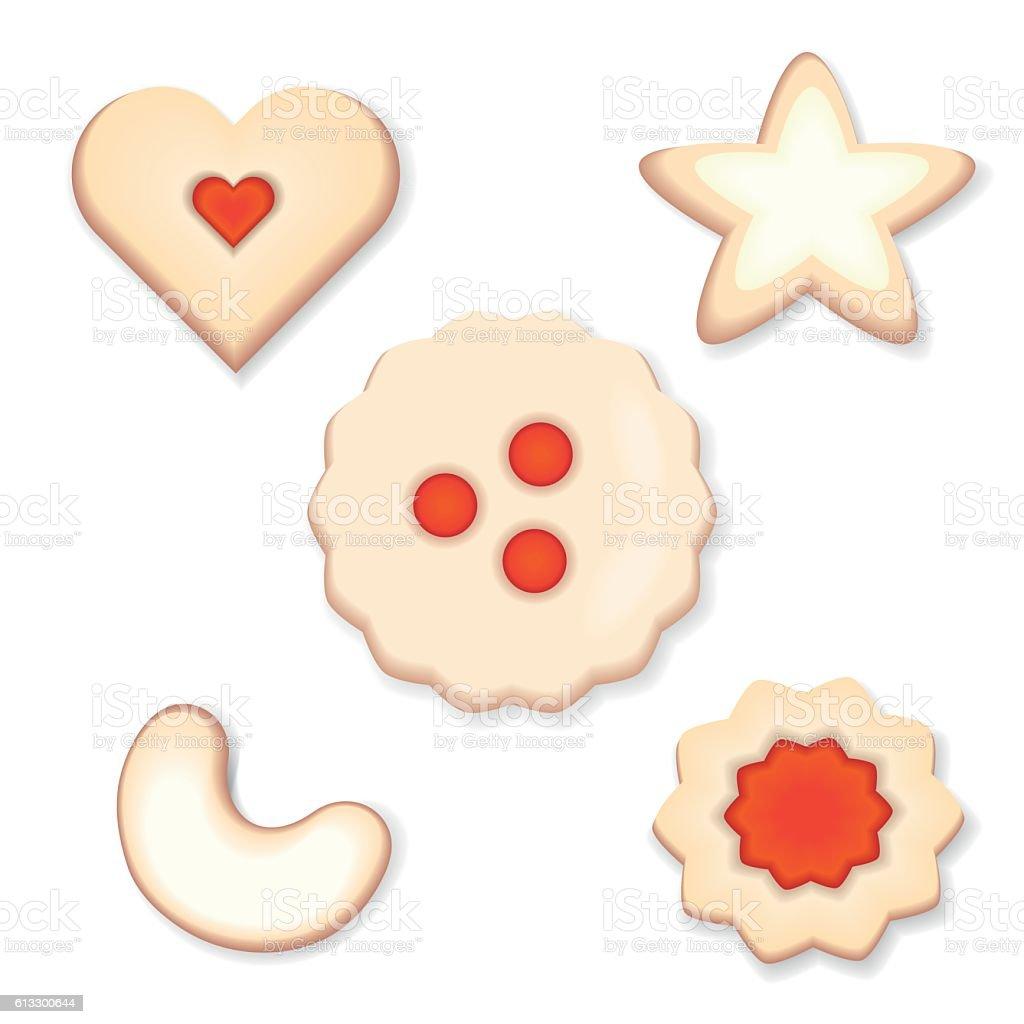 Traditional Austrian Christmas Cookies Linzer Cookies Cinnamon Star Vanillekipferl Stock Illustration Download Image Now