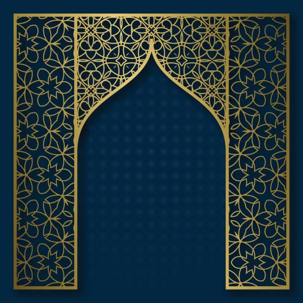 Traditional background with golden patterned arched frame vector art illustration