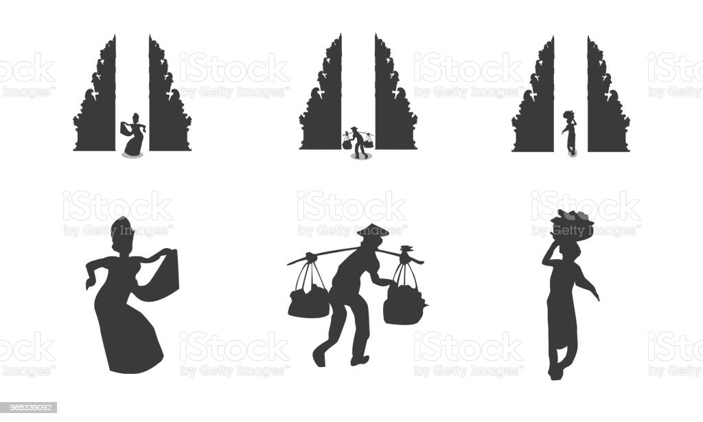 Traditional balinese architecture and people vector art illustration