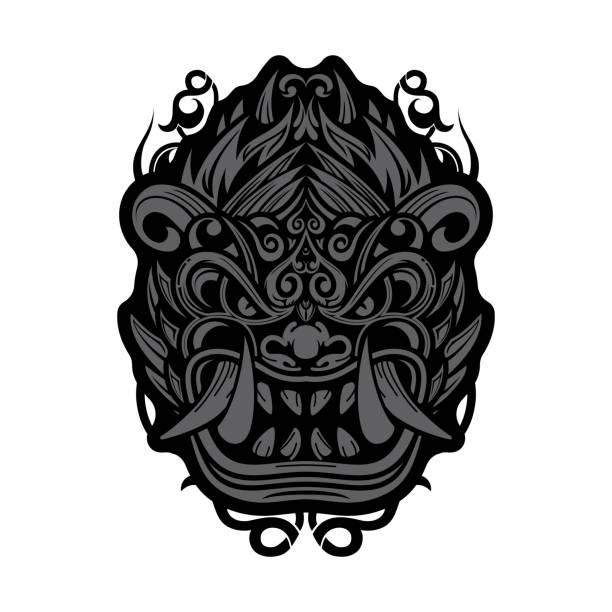stockillustraties, clipart, cartoons en iconen met traditioneel balinees barong masker - indonesische cultuur