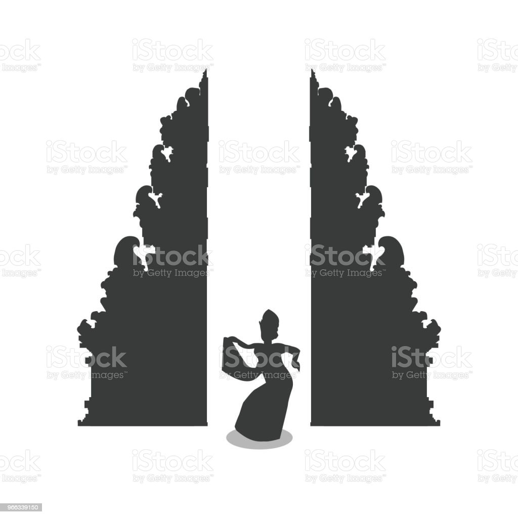 Traditional balinese dancer in front of Bali gate vector art illustration
