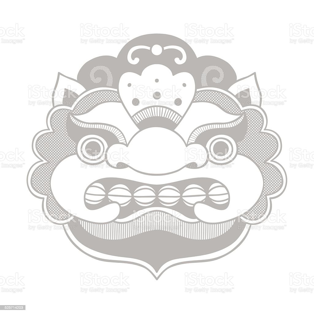 Traditional balinese mask. Barong. vector art illustration