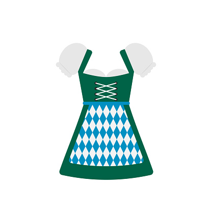Traditional Bavarian clothing Dirndl isolated on white. Oktoberfest folk costume flat vector icon. Easy to edit template for your logo design,  poster, banner, flyer, t-shirt, invitation, etc.