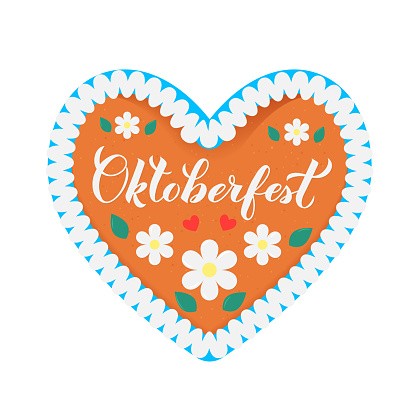Traditional Bavarian heart-shaped gingerbread decorated with flowers, leaves and lettering Oktoberfest. Easy to edit vector template for symbol design, poster, banner, flyer, t-shirt, invitation, etc.