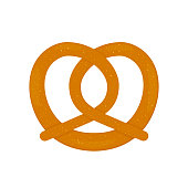Traditional Bavarian pretzel isolated on white. Flat vector icon. Easy to edit template for logo design, poster, banner, flyer, t-shirt, invitation, sticker, etc.