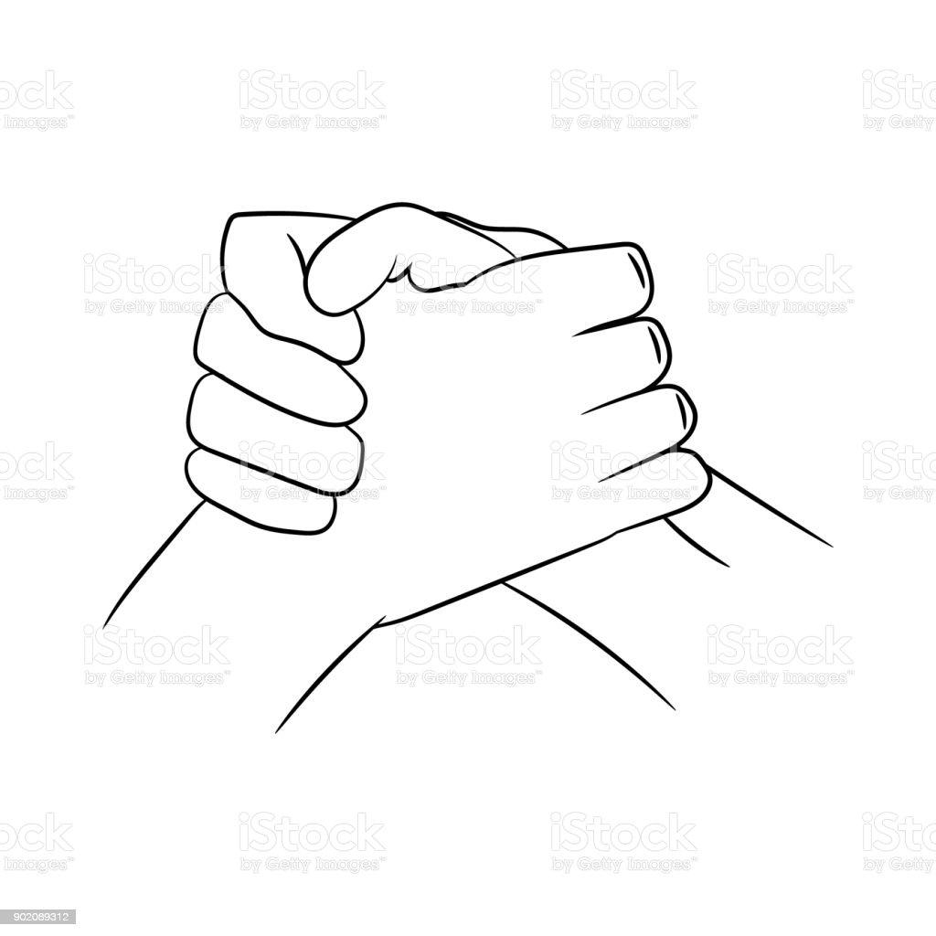 traditional biker handshake. vector illustration. hand drawing. vector art illustration