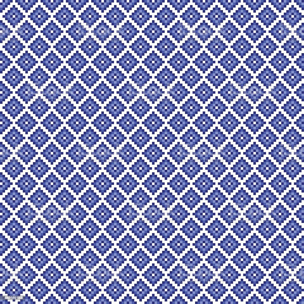 Traditional blue pixel seamless square pattern vector art illustration
