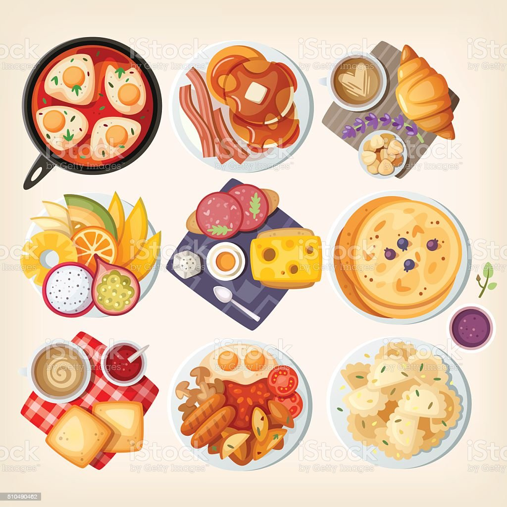 Traditional breakfasts all over the world. vector art illustration