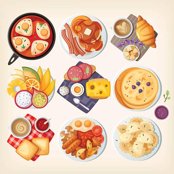 bildbanksillustrationer, clip art samt tecknat material och ikoner med traditional breakfasts all over the world. - crepe