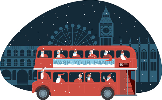 Traditional British red double decker bus full of Santas over Christmas London background. Safety measures during coronavirus COVID-19 quarantine on Christmas holidays.