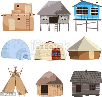 Set of traditional housed. With House, Igloo, Hut, Shack, Slum, Cabinet, Cottage, Cabin, Beach Hut, Gazebo, Tent, stone house, Beach House, Straw, Bungalow, Teepee vector illustration.