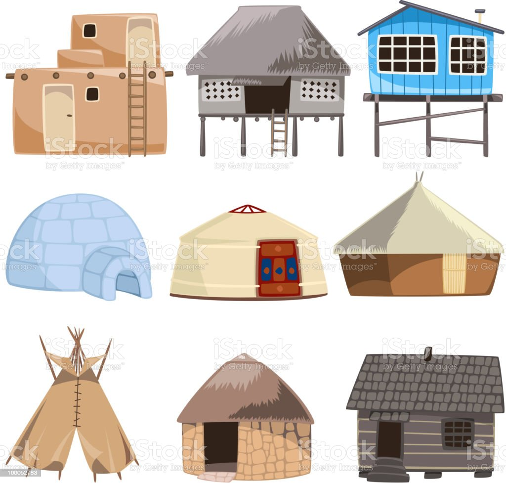 Traditional building house igloo hut cabinet cabin tent bungalow vector art illustration