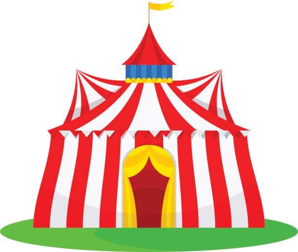 illustrazioni stock, clip art, cartoni animati e icone di tendenza di traditional building to view of the interesting tricks, circus artists - funfair entrance