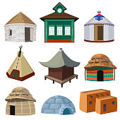 Traditional buildings and small houses of world different nations. Vector yurt and wigwam, tribal tepee and different shelter illustration