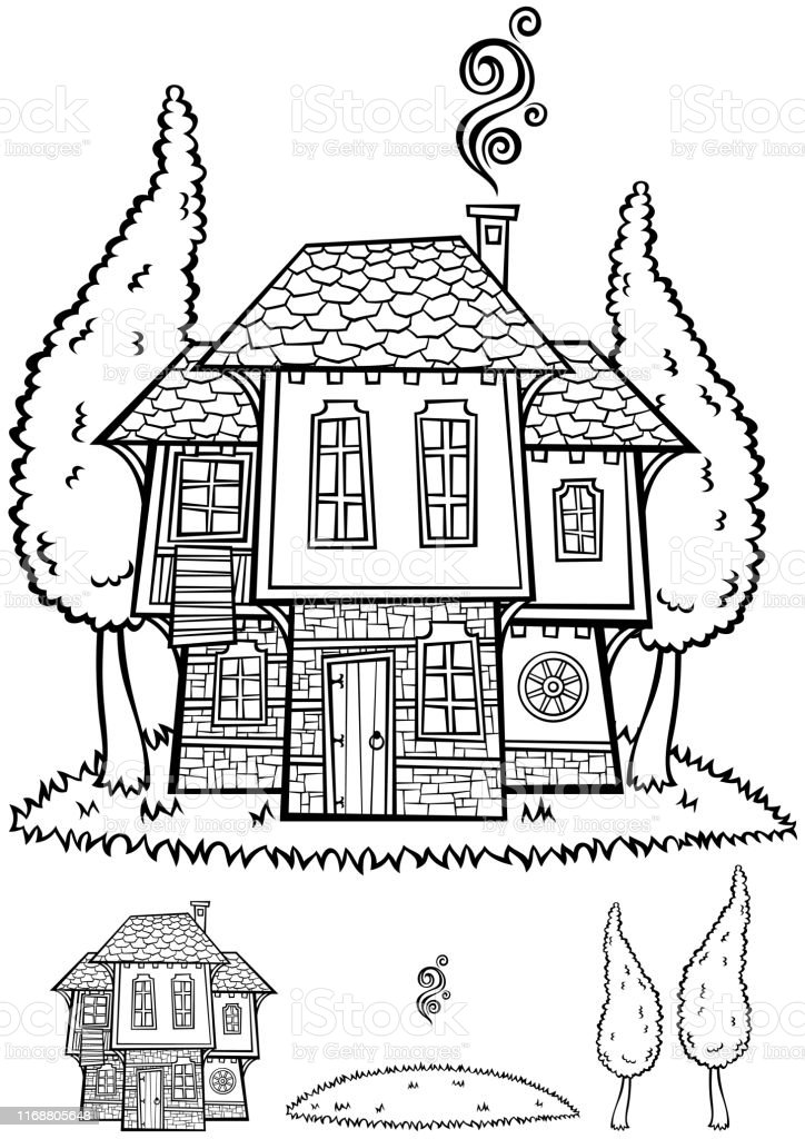 Illustration of traditional Bulgarian house in black and white for...