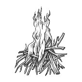 Traditional Burning Timbered Stick Vintage Vector. Burning Tree Wood Branches For Inflaming Flame. Hot Temperature Controlled Fire Of Twigs Designed In Retro Style Black And White Illustration