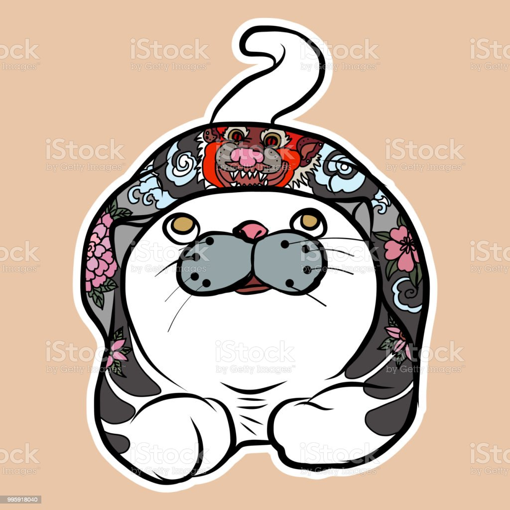 ea01e1060 Traditional cat with tattoo idea.Japanese cat yakusa with painting dragon  tattoo. royalty-