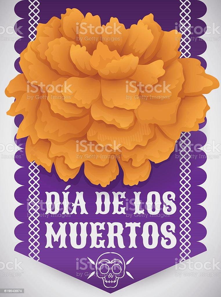 Traditional Cempasuchil Flower Over Tissue Paper For Dia De Muertos