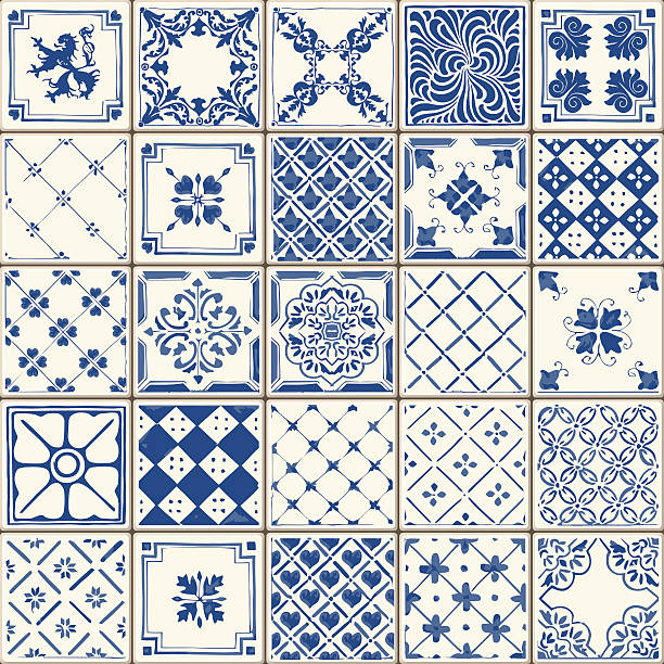 tradycyjne ceramicznych 02 vintage 2d - kultura portugalska stock illustrations