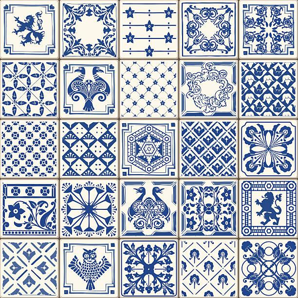 ilustrações de stock, clip art, desenhos animados e ícones de tradicional de cerâmica 05 vintage 2d - mosaicos flores