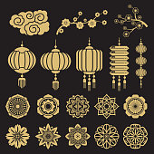 Traditional chinese and japanese decorative design vector elements isolated on black background. Asian china and japan gold traditional element illustration