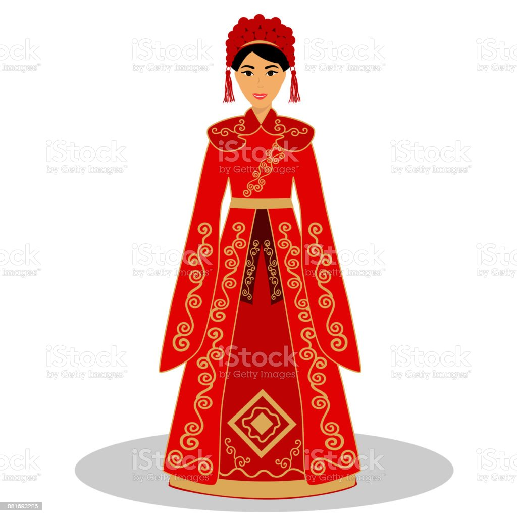 traditional chinese bride bride in wedding dress stock vector art