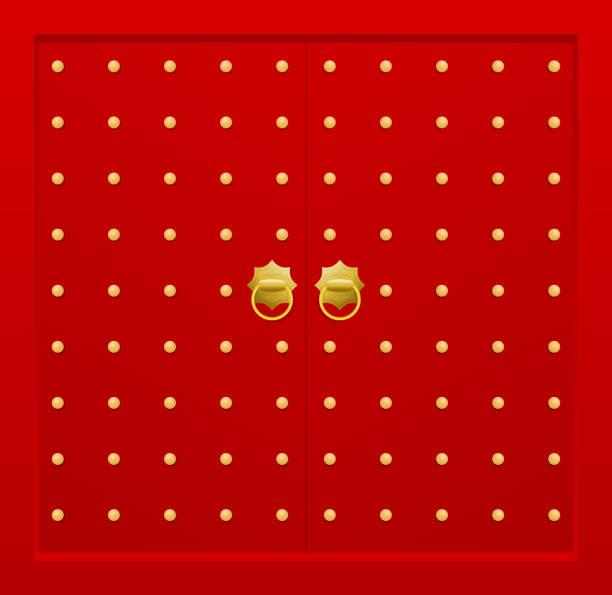 traditionelle chinesische tür - türklopfer stock-grafiken, -clipart, -cartoons und -symbole
