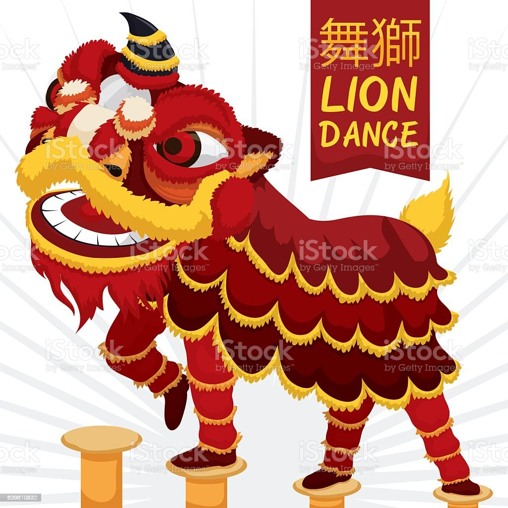 Traditional Chinese Lion Dance Performance with Martial Demonstration vector art illustration