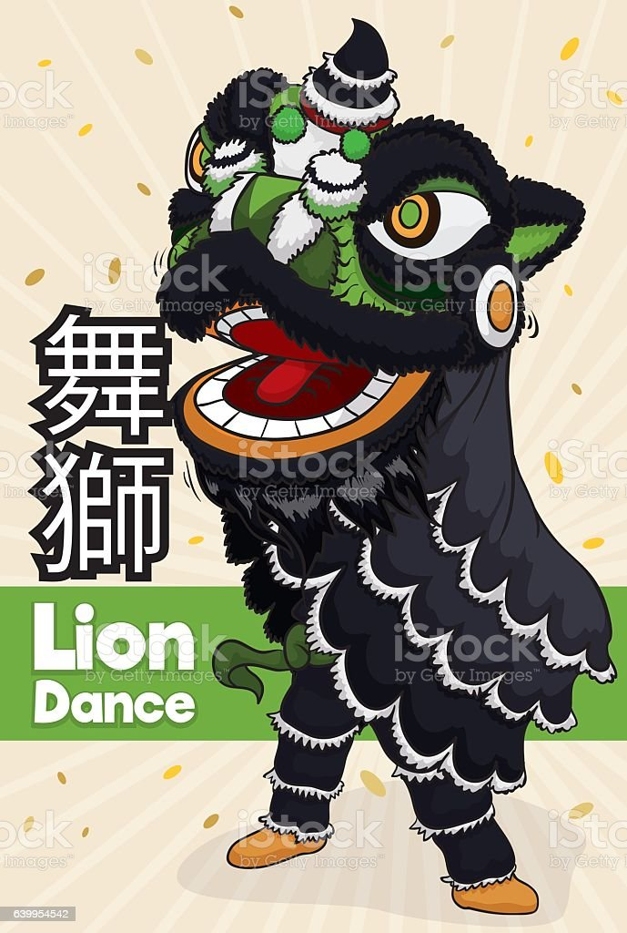 Traditional Chinese Lion Dancer with One Person and Black Costume vector art illustration