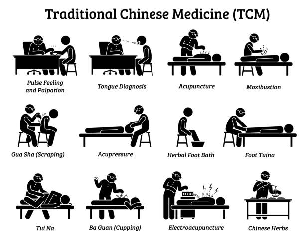 TCM Traditional Chinese Medicine icons and pictograms. Artworks depict a TCM doctor practitioner examining patient, feeling pulse, doing acupuncture, moxibustion, massage, and preparing Chinese herbs. chinese herbal medicine stock illustrations