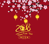 traditional chinese new year. Blossom and lantern background. Year of the dog