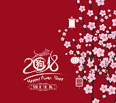 traditional chinese new year. Blossom background. Year of the dog (hieroglyph: Dog)
