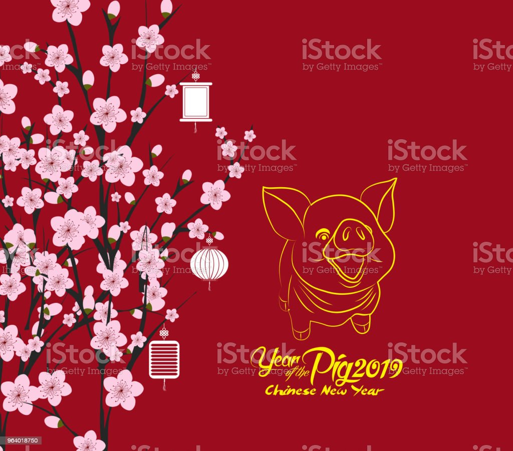 traditional chinese new year. Blossom background. Year of the pig - Royalty-free 2019 stock vector