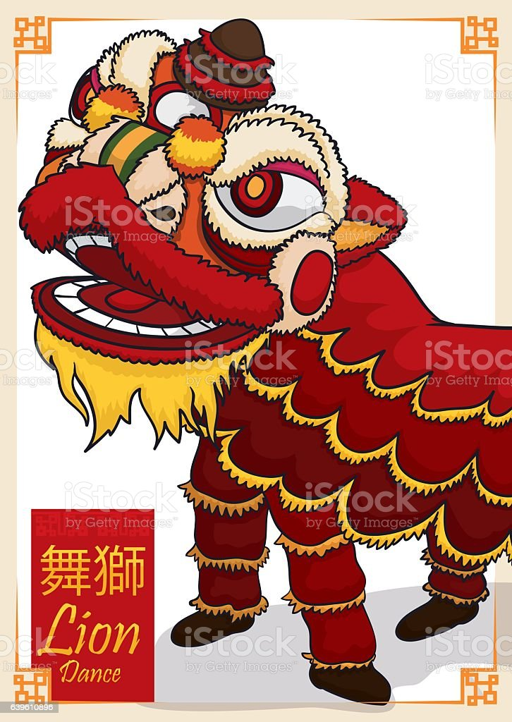 Traditional Chinese Red Lion Costume for Dance in Holidays vector art illustration