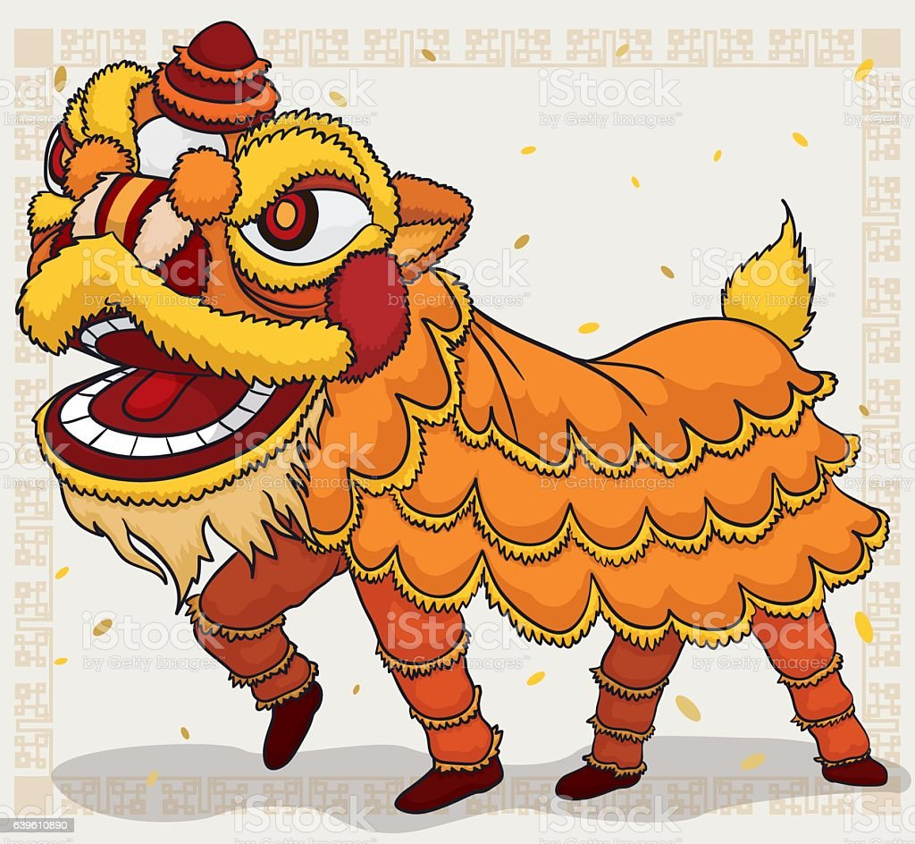 Traditional Chinese Yellow Costume for Lion Dance Display vector art illustration