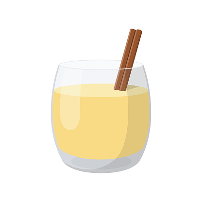 Traditional Christmas beverage eggnog in glass glass with cinnamon stick. Vector illustration on transparent background