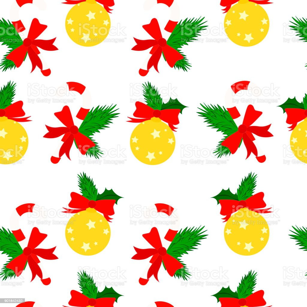traditional christmas candy on white background lollipop and ball pattern vector illustration royalty