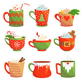 Traditional christmas drinks flat vector illustrations set. Delicious xmas beverages isolated on white background. Cafe festive menu design elements. Hot chocolate, mulled wine, cocoa, coffee and tea
