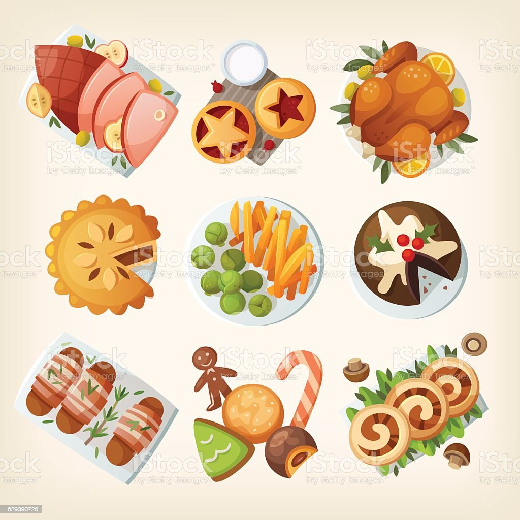 Traditional christmas food vector art illustration