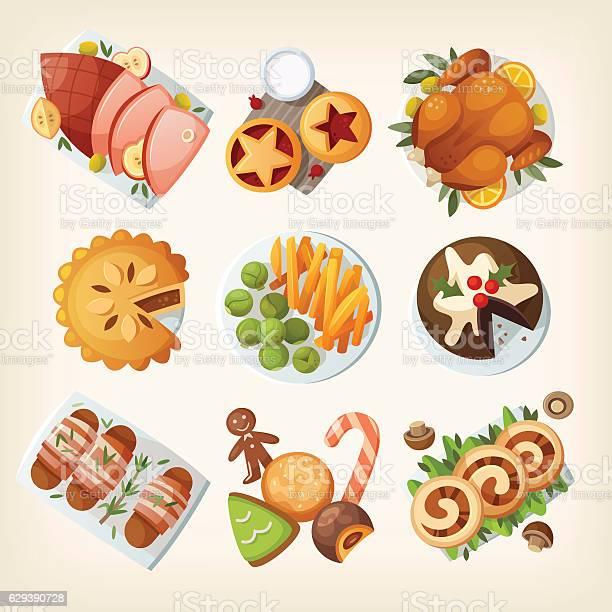 Traditional Christmas Food - Immagini vettoriali stock e altre immagini di Arrosto - Cibo cotto